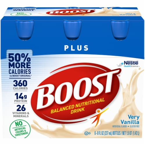 Boost Plus Very Vanilla Balanced Nutritional Drink 6 Count Perspective: front