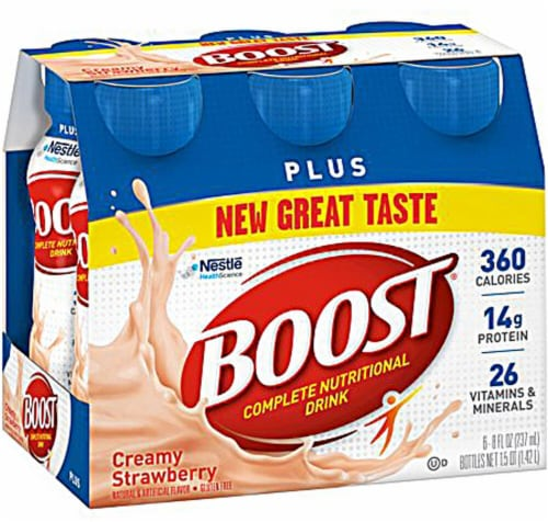 Nestle  BOOST® Plus Nutritional Creamy Strawberry Drink Perspective: front