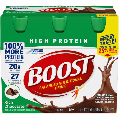 Boost High Protein Rich Chocolate Nutritional Drink Perspective: front