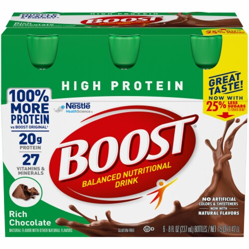 Boost High Protein Rich Chocolate Balanced Nutritional Drink Perspective: front