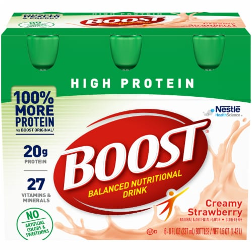 Nestle BOOST Creamy Strawberry High Protein Nutritional Drink Perspective: front