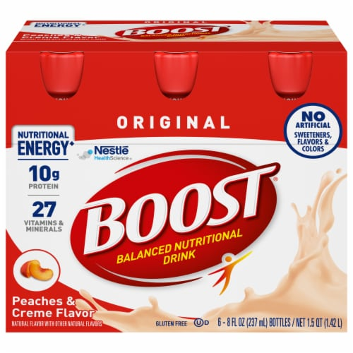 Boost Original Peaches & Creme Complete Nutritional Drinks Perspective: front