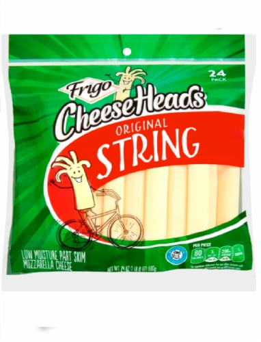 Frigo Cheese Heads Low Moisture Part Skim Mozzarella Original String Cheese Perspective: front