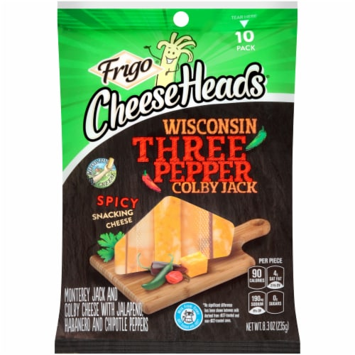 Frigo Cheese Heads Wisconsin Three Pepper Colby Jack Spicy Cheese Sticks Perspective: front