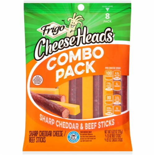 Frigo Cheese Heads Sharp Cheddar & Beef Cheese Sticks Combo Pack Perspective: front