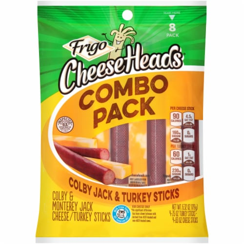 Frigo Cheese Heads Colby Jack & Turkey Sticks Combo Pack Perspective: front