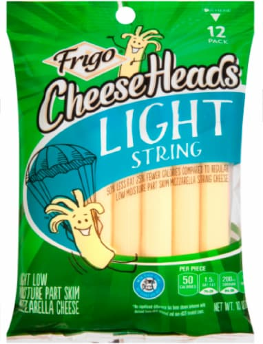 Frigo Cheese Heads Light Moisture Part Skim Mozzarella String Cheese Perspective: front