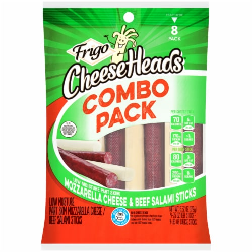 Frigo Cheese Heads Mozzarella Cheese & Beef Salami Sticks Combo Pack Perspective: front