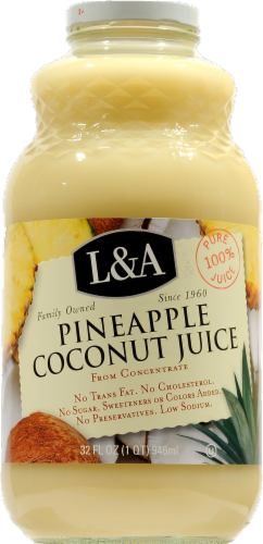 L&A Pineapple Coconut Juice Perspective: front