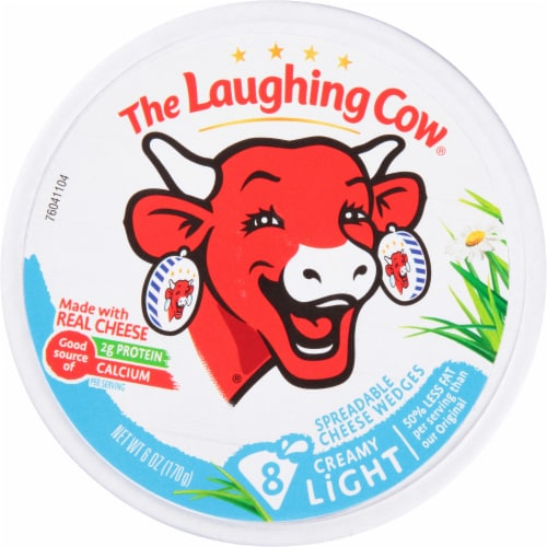 The Laughing Cow Light Creamy Swiss Spreadable Cheese Wedges Perspective: front