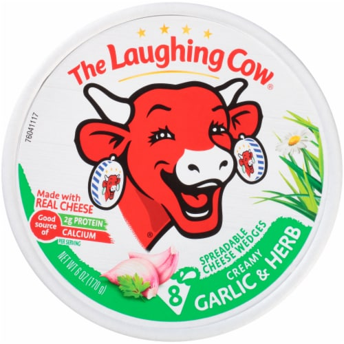 The Laughing Cow Garlic & Herb Creamy Swiss Spreadable Cheese Wedges Perspective: front