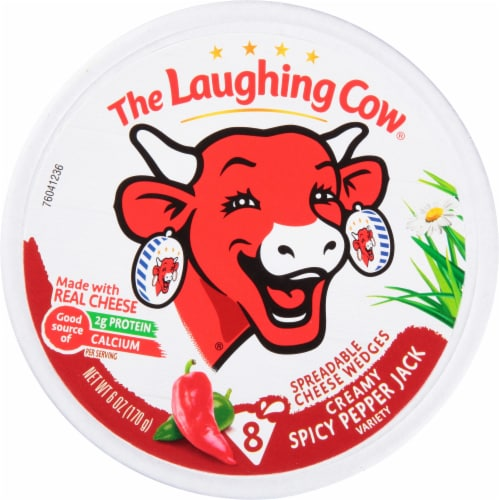 The Laughing Cow Creamy Spicy Pepper Jack Spreadable Cheese Wedges Perspective: front