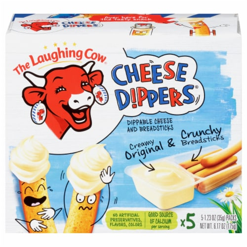 The Laughing Cow Original Creamy Swiss Cheese Dippers and Classic Breadsticks 5 Count Perspective: front