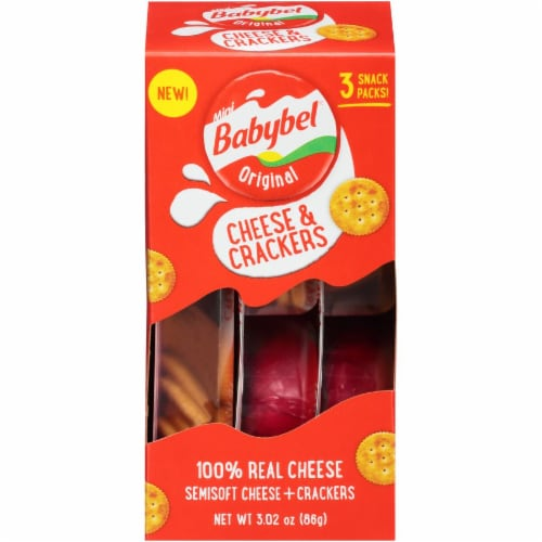 Mini Babybel Original Cheese & Crackers 3 Pack Perspective: front