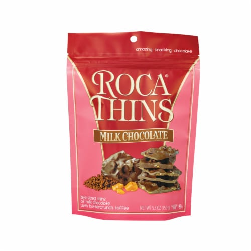 Roca Thins Milk Chocolate with Butterscotch Toffee Perspective: front