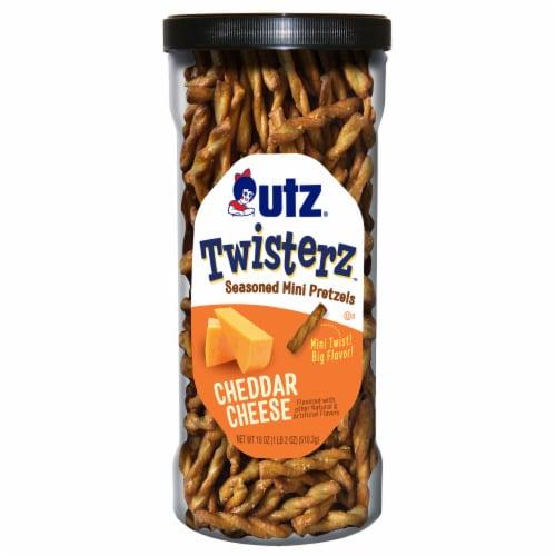 Utz Twisterz Cheddar Cheese Seasoned Mini Pretzels Perspective: front