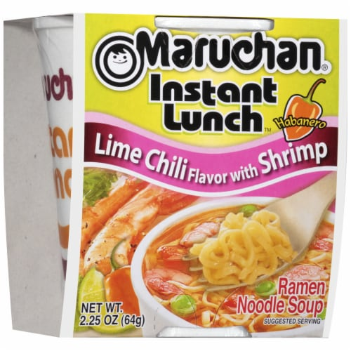 Maruchan Instant Lunch Lime Chili Flavor with Shrimp Ramen Noodle Soup Perspective: front