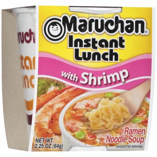 Maruchan Instant Lunch with Shrimp Ramen Noodle Soup Perspective: front