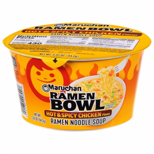 Maruchan Hot & Spicy Chicken Ramen Noodles with Vegetables Bowl Perspective: front