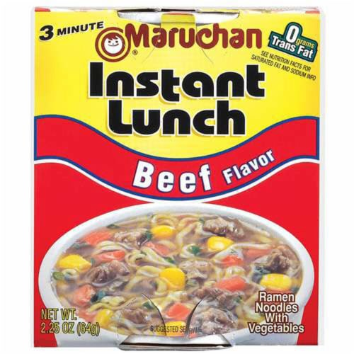 Maruchan Instant Lunch Beef Flavored Ramen Noodle Soup Perspective: front