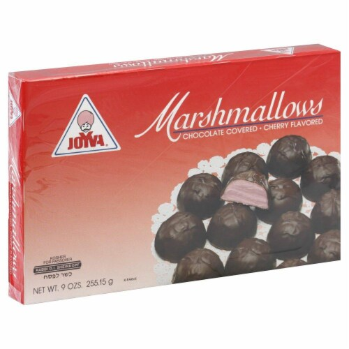 Joyva Cherry Chocolate Covered Marshmallows Perspective: front