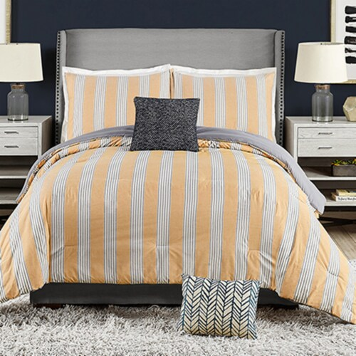 Ayesha Curry Willow Stripe Comforter Set Perspective: front