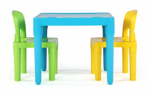 Humble Crew Lightweight Kids Plastic Table & 2 Chair Set 3 Pack - Green/Blue/yellow Perspective: front