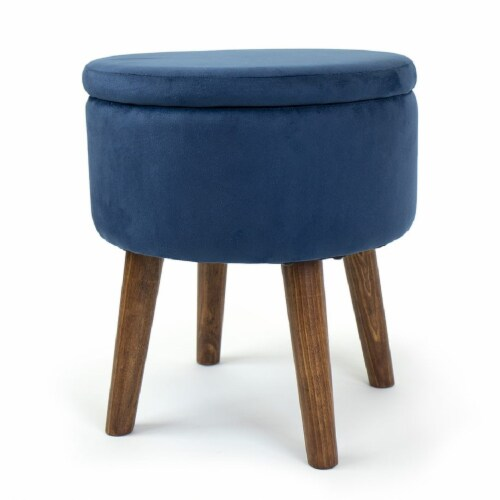 Humble Crew Sloan Velour Round Storage Ottoman - Blue Perspective: front