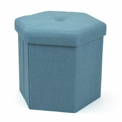 Humble Crew Devon Hexagonal Upholstered Collapsible Storage Ottoman Perspective: front