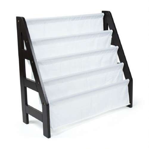 Humble Crew Espresso Ladder Kids Bookshelf 4 Tier Book Organizer Perspective: front