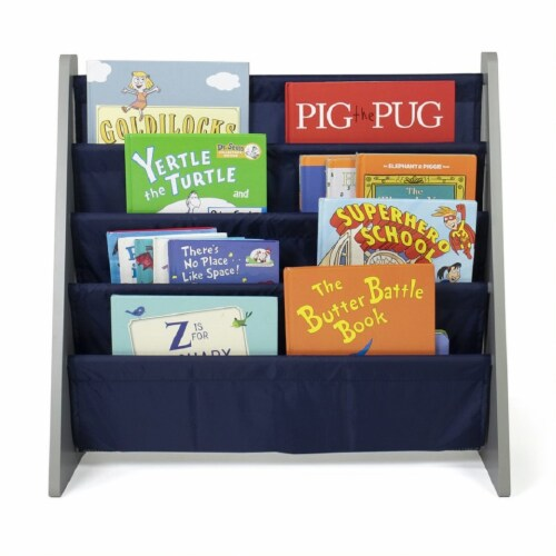 Humble Crew Newport Kids Bookshelf 4 Tier Book Organizer - Navy Perspective: front