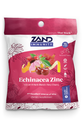 Zand Echinacea Zinc Herbal Lozenge Perspective: front