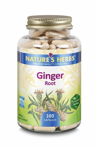 Nature's Herbs Ginger Root Capsules Perspective: front