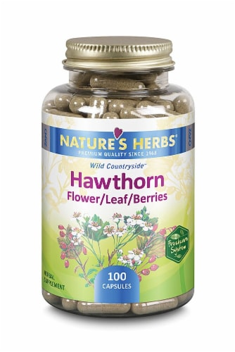 Nature's Herbs Hawthorn Flower Leaf Berries Capsules Perspective: front