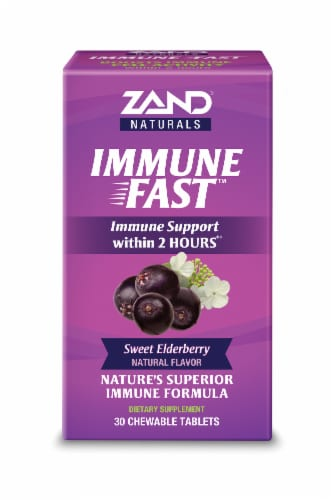 Zand Naturals Sweet Elderberry Immune Fast Chewable Tablets 30 Count Perspective: front