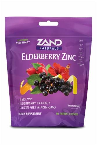 Zand Gluten-Free Sweet Elderberry Flavor Elderberry Zinc Lozenges 5mg Perspective: front