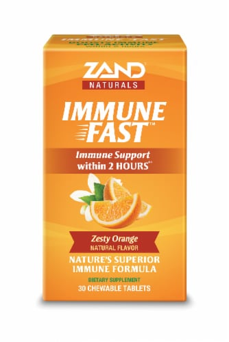 Zand Naturals Zesty Orange Immune Fast Immune Support Chewable Tablets 30 Count Perspective: front