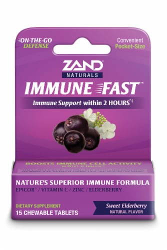 Zand Naturals Immune Fast Sweet Elderberry Chewable Tablets Perspective: front