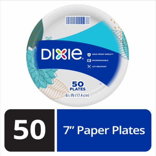 Dixie 7-Inch Paisley Splash Plate 50 Count Perspective: front