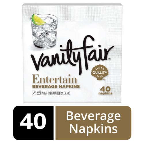 Vanity Fair Entertain White Disposable Paper Beverage Napkins Perspective: front
