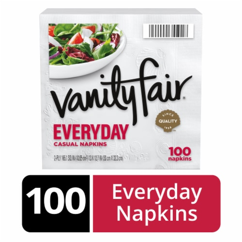 Vanity Fair Everyday White Disposable Paper Napkins 100 Count Perspective: front
