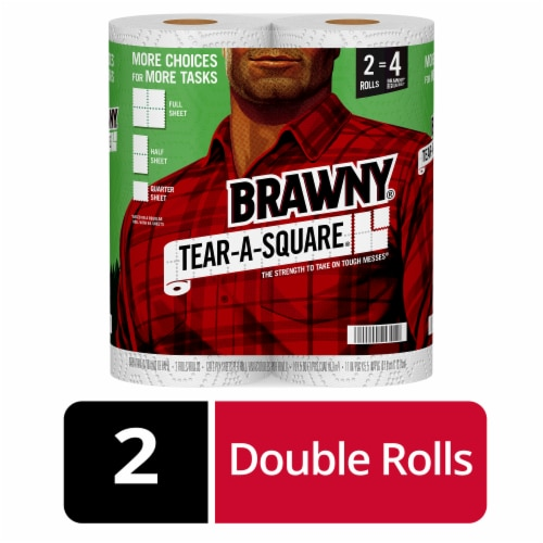 Brawny Tear-A-Square Paper Towel Rolls Perspective: front