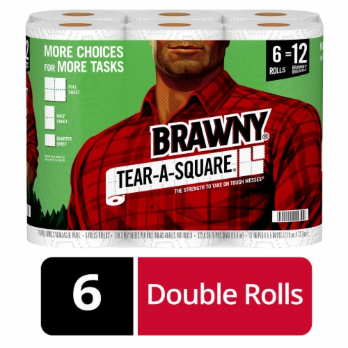 Brawny Tear-A-Square White Paper Towels Perspective: front