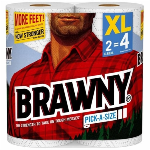 Brawny XL Pick-A-Size Paper Towel (2 Roll) 44192 Pack of 12 Perspective: front