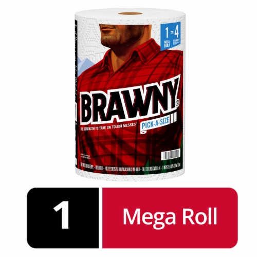 Brawny® Paper Towels White - Mega Roll Perspective: front
