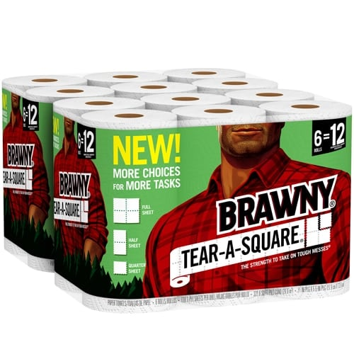 Brawny Tear-a-Square Roll Paper Towels Perspective: front