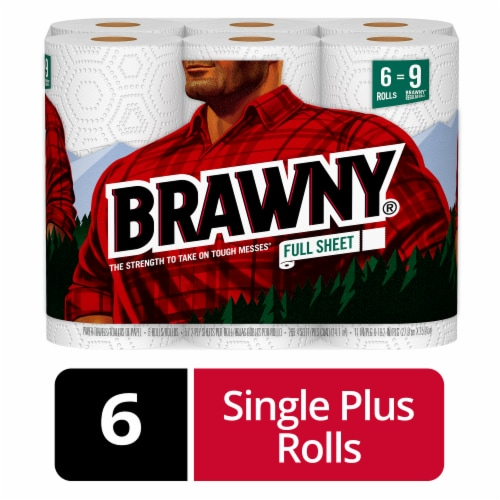 Brawny White Full Sheets Paper Towels Perspective: front