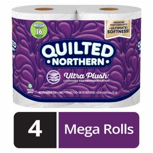 Quilted Northern Ultra Plush® Bath Tissue 4 Mega Rolls Perspective: front