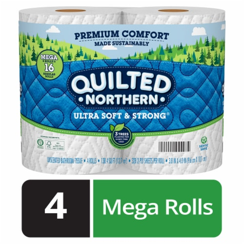 Quilted Northern Ultra Soft & Strong Bath Tissue 4 Mega Rolls Perspective: front
