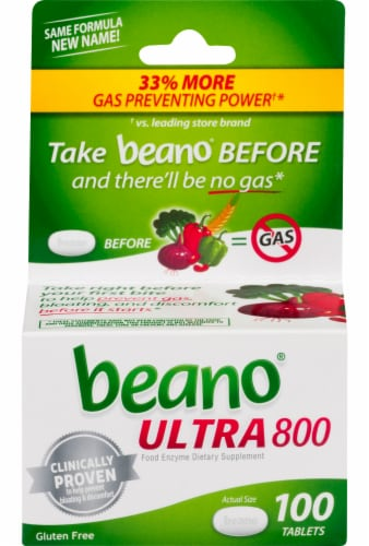 Beano Ultra 800 Food Enzyme Dietary Supplement Tablets 100 Count Perspective: front